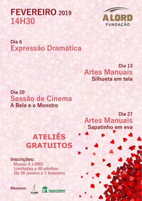 ATELIÊS GRATUITOS | Fevereiro