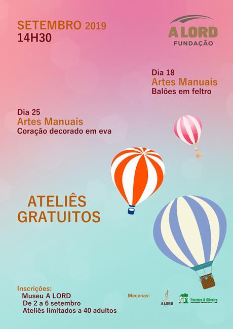 Inscrições | ATELIÊS GRATUITOS PARA ADULTOS | 2 a 6 setembro 2019