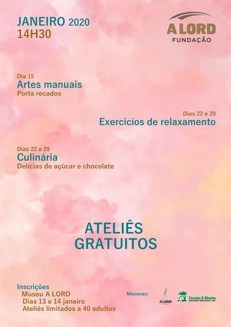 Inscrições | ATELIÊS GRATUITOS PARA ADULTOS | 13 e 14 janeiro 2020