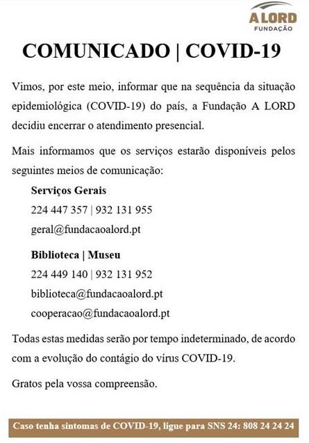 Comunicado | COVID-19 | Fundação A LORD