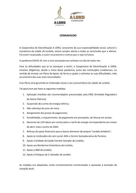 Comunicado | COVID-19 | Cooperativa de Electrificação A LORD