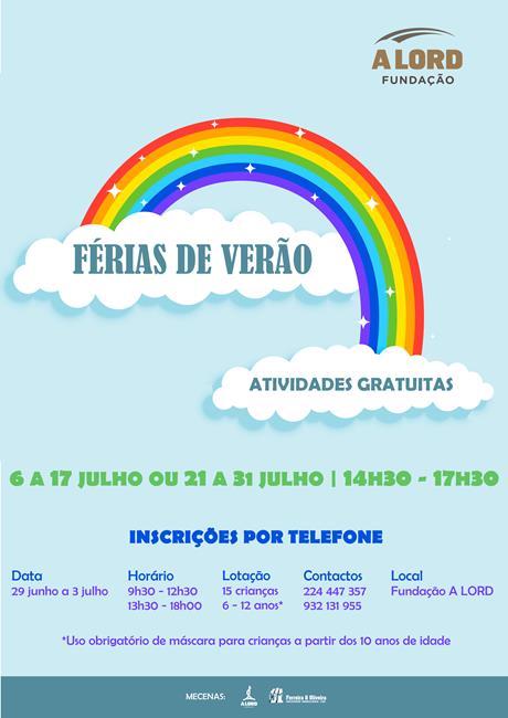 Inscrições | FÉRIAS DE VERÃO | 29 junho a 3 julho 2020
