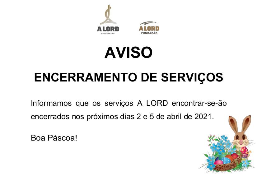 Encerramento de serviços | PÁSCOA | 2 e 5 abril